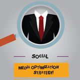Stratégie d'optimisation sociale de médias des textes d'écriture Concept signifiant des stratégies de SEO Advertising Marketing m illustration de vecteur