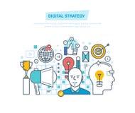 Stratégie de Digital Vente de Digital, gestion, media prévoyant, analyse, faisant de la publicité illustration de vecteur