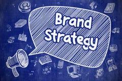 Stratégie de marque - illustration de griffonnage sur le tableau bleu illustration libre de droits
