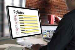 Stratégie de principe de l'information d'arrangements de politique de confidentialité de politiques Images stock