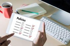 Stratégie de principe de l'information d'arrangements de politique de confidentialité de politiques Photographie stock