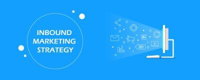 Stratégie marketing d'arrivée - la publicité de media numérique - icônes sociales et éléments de media montrant sur le concept d' illustration libre de droits