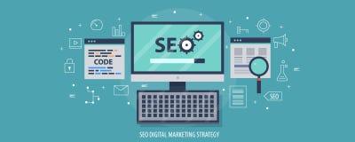 Stratégie marketing de Digital - optimisation de moteur de recherche - codage de site Web, contenu, concept de gestion Bannière p illustration libre de droits