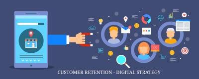 Stratégie marketing de Digital pour l'attraction de client, la conservation de client et l'engagement Bannière plate de vecteur d illustration libre de droits