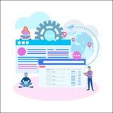 Stratégie marketing de Digital, recherche en ligne, optimisation de seo concentrée illustration stock