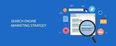 Stratégie marketing de moteur de recherche - la publicité payée en ligne - payez par concept de clic Bannière plate de vecteur de illustration de vecteur