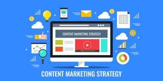 Stratégie marketing satisfaite, la publicité de media sociale, concept de marquage à chaud numérique illustration stock