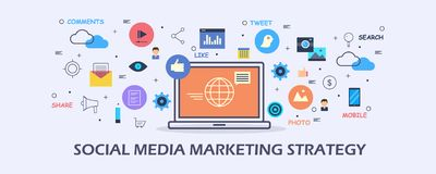 Stratégie marketing sociale de media - vente satisfaite - concept numérique de promotion de media Bannière plate de vecteur de co illustration de vecteur
