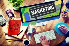 Stratégie marketing stigmatisant le plan commercial Concep de publicité Photos libres de droits