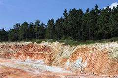 Strata of rock and dirt with trees. On road construction project Stock Images