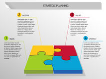 Stratagic planning. Infographic strategic planning from four puzzles stock illustration