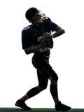 Strateeg het Amerikaanse het werpen silhouet van de voetbalstermens Stock Foto's