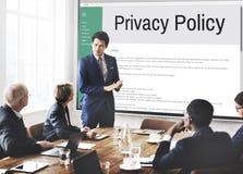 Strategi för principen för information om avskildhetspolitik härskar begrepp arkivfoto