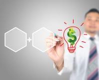 Strategi för teckning för affärsman som får pengar fotografering för bildbyråer