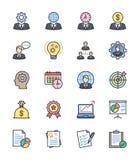 Strategi- och ledningsymboler, färguppsättning - vektorillustration Arkivbilder