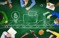 Strategi S för möte för planläggning för svart tavlaidékläckningsamarbete Arkivbilder