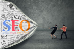 Strategia aziendale con il concetto di seo Fotografia Stock Libera da Diritti