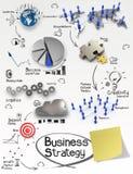 Strategia aziendale creativa disegnata a mano sul backgrou di carta sgualcito illustrazione di stock