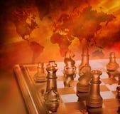 Strategia aziendale globale di scacchi Fotografia Stock