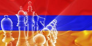 Strategia aziendale ondulata della bandierina dell'Armenia Fotografia Stock