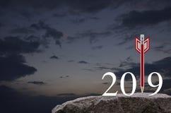 Strategia biznesowa nowego roku szczęśliwy 2019 pojęcie ilustracji