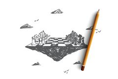 Strategia biznesowa, szachy, taktyki, rywalizacja, konfrontaci pojęcie Ręka rysujący odosobniony wektor royalty ilustracja