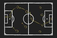 Strategia del gioco di calcio Segni il disegno col gesso della mano con il piano tattico di calcio sulla lavagna Vettore Immagini Stock Libere da Diritti