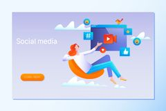 Strategia sociale di media, illustrazione di vettore di vendita di affari della rete sociale con il carattere illustrazione vettoriale