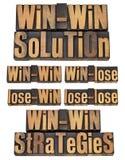 Strategia vantaggiosa per entrambe le parti in scritto tipografico fotografia stock