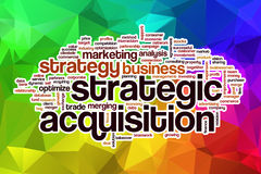 Strategic acquisition word cloud with abstract background Royalty Free Stock Photos
