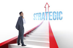 Strategic against red arrow with steps graphic Stock Image