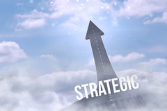 Strategic against road turning into arrow Royalty Free Stock Image