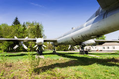 Strategic bomber Tu-95 Bear. Old faulty strategic soviet bomber Tu-95 (Bear) on the former airbase Uzin, Ukraine Royalty Free Stock Photo