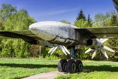 Strategic bomber Tu-95 Bear. Propeller-engine powerplant and chassis. Old faulty strategic soviet bomber Tu-95 (Bear) on the former airbase Uzin, Ukraine Stock Photography