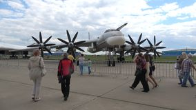 Strategic bomber Tu-95MS closeup. MAKS-2017, Zhukovskiy. ZHUKOVSKY, RUSSIA - JULY 19, 2017: Strategic bomber Tu-95MS closeup. MAKS-2017 stock video footage