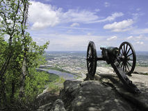 Strategic cannon. A strategic placed cannon from the civil war, overseeing Chattanooga royalty free stock photos