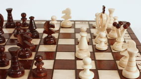 Strategic concept, chessboard, chess game. Chess board, strategy concept, dolly shot stock video footage