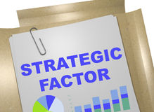 Strategic Factor concept. 3D illustration of STRATEGIC FACTOR title on business document Royalty Free Stock Images