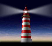 Strategic guidance. Beacon of hope and strategic guidance symbol with a lighthouse concept beaming light from the high tower for security and clear direction Stock Images