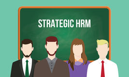 Strategic hrm or human resource management concept illustration with text written on chalkboard vector illustration
