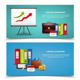 Realistic Business Banners Set. Strategic management and financial accounting business banners set realistic isolated vector illustration Royalty Free Stock Images