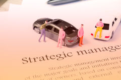 Strategic management focus on white Stock Photography
