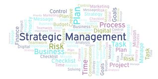 Strategic Management word cloud, made with text only. Strategic Management word cloud, made with text only vector illustration