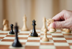Strategic moves, chess game Stock Images
