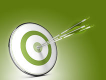 Strategic Objectives. Three arrows hitting the center of a target over green background. Illustration of strategic objectives success Stock Photo