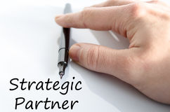 Strategic partner text concept. Isolated over white background Stock Photos