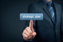 Strategic plan. Businessman click on virtual button with text strategic plan Stock Photos