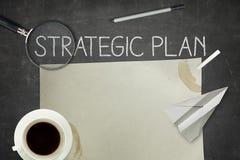 Strategic plan concept on blackboard. With pen Royalty Free Stock Photos