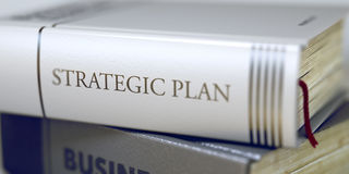 Strategic Plan Concept on Book Title. 3D. Stock Photos