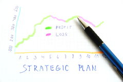 Strategic plan. Ning of business activities with graphs Stock Image